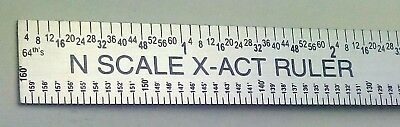 "N Scale Stainless Steel ruler  X-ACT brand  Made in USA  6"" Long x 1/2"" wide"