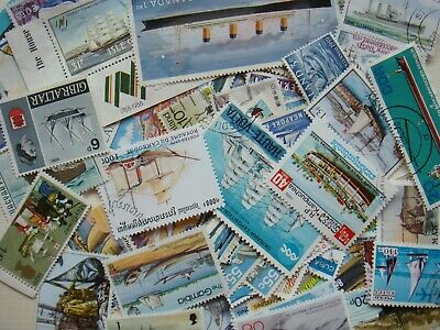 50 SHIPS Transport Stamps All Different Thematic World CTO's/Genuine Postage