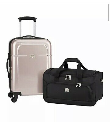 """Delsey Air Quest 21"""" Carry-On Spinner Suitcase Rose Hardside Luggage New $300"""