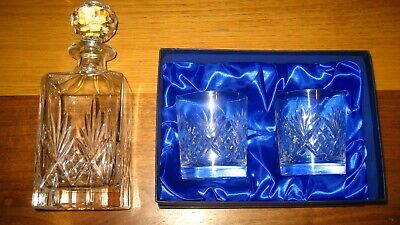 Cut Glass Crystal SQUARE DECANTER for Whisky Brandy + 2 NEW Glasses Tumblers