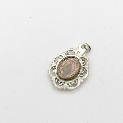 Antique Vintage Carved Mother Of Pearl Religious Relic Icon Token Pendant Charm