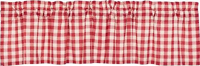 "72"" W Red & White Buffalo Check Cotton Window Valance Country Farmhouse Annie"