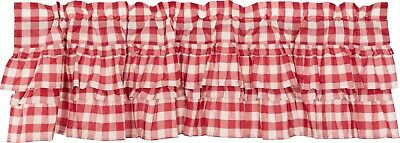 "60"" W Red & White Buffalo Check Ruffled Window Valance Country Farmhouse Annie"