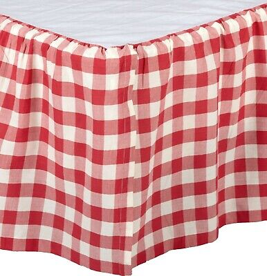 Red & White Queen Gathered Cotton Bed Skirt Split Corners Annie Buffalo Check