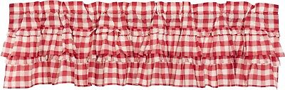 "72"" W Red & White Buffalo Check Ruffled Window Valance Country Farmhouse Annie"
