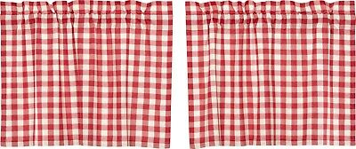 "24"" L Red & White Buffalo Check Country Farmhouse Window Tier Set Lined Annie"
