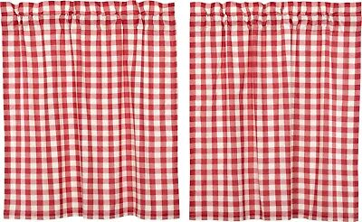 "36"" L Red & White Buffalo Check Country Farmhouse Window Tier Set Lined Annie"