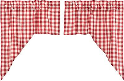 Red & White Buffalo Check Window Swag Set Cotton Lined Country Farmhouse Annie