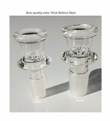 14mm 18mm  Glass Bowl  Thick Mobius Style Best Male slide Screen Bowl downstem