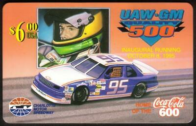 $6. UAW-GM 500 (Inaugural: 10/08/95) (Coke 600 Logo) *TEST* Phone Card