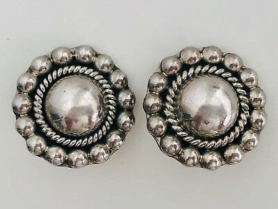Mexico Taxco? Signed Ornate Vtg Modernist Sterling Silver Earrings Mexican