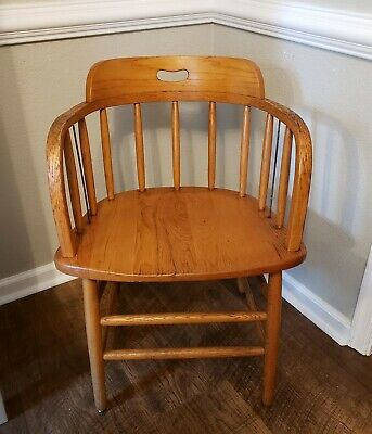 Vintage Solid Oak Culler Barrell Back Chair Desk Office Free shipping!