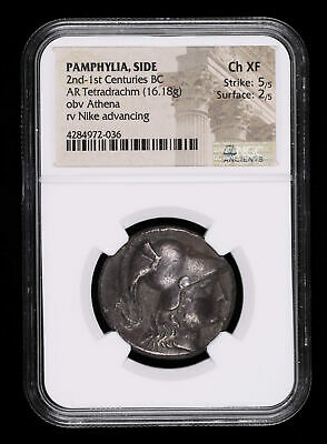 Pamphylia 2Nd - 1St Centuries Bc Tetradrachm Ancient Greek Coin Athena Nike A...