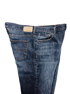 Calvin Klein Mens Relaxed Straight Blue Jeans Classic Faded Whiskered Size 38x33