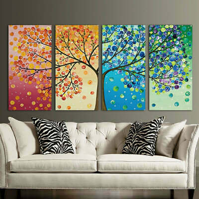 Colorful Tree Abstract Framed 4 Piece Canvas Wall Art Painting Wallpaper Poster