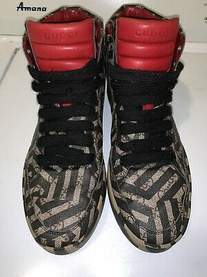 6c99c5027 AUTH GUCCI GG CALEIDO Sneakers High Top Leather Black Beige US size ...