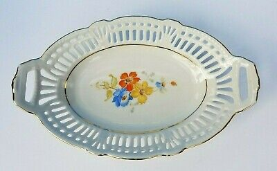 Schwarzenhammer, Bavaria Reticulated Porcelain Candy Dish US Zone14. Excel Cond
