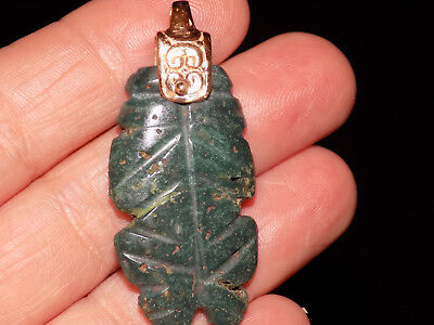Pre-Columbian Blue Jade Frog Pendant with Custom 14Kt Gold Bail