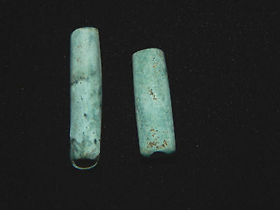 Pre-Columbian Blue Green Tubular Beads, Costa Rica,  Authentic, Pair of 2