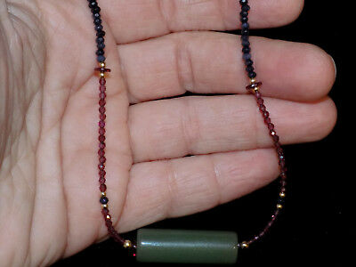 Pre-Columbian Jade Tubular Bead Pendant Necklace with Sapphires and Gold