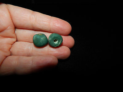 Pre-Columbian Beads, Pair of 2, Green Stone Round Beads, Authentic