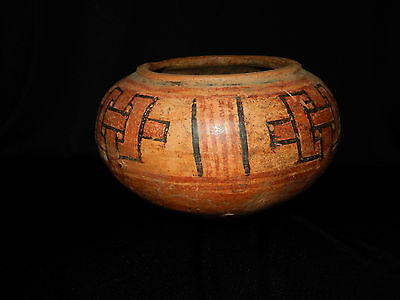 Pre-Columbian Large Geometric Polychrome Bowl, Authentic, Central America