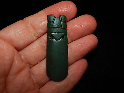 Pre-Columbian Avian Green Jade Pendant Authentic Central American Jade