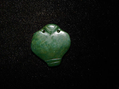 Authentic Pre-Columbian Bat Pendant, Blue-Green Jade Pendant, Abstract, Rare