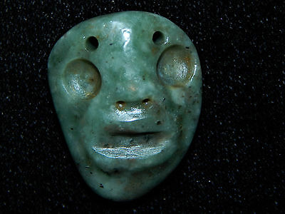 Pre-Columbian Authentic Carved Blue Green Jade, Rare Pendant, Jade Maskette