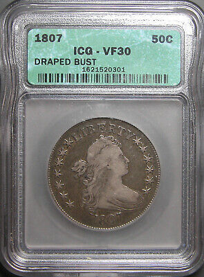 1807 Draped Bust Half Dollar ICG VF-30  Old Slab