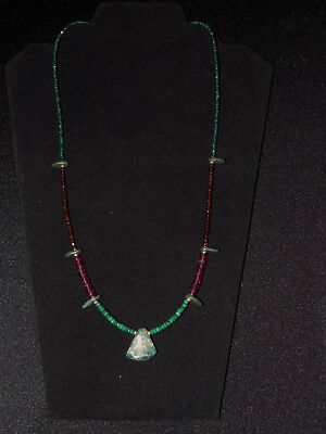 Pre-Columbian Blue Jade Axe Pendant with Emerald, Garnet and Gold Necklace