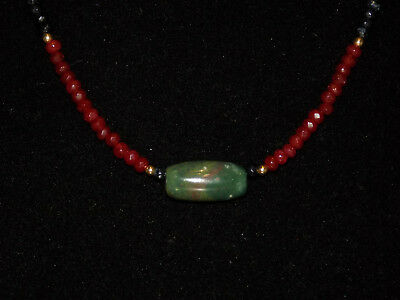 Pre-Columbian Blue Jade Tubular Bead with Sapphire, Ruby and Gold Bead Necklace