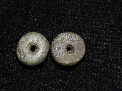 Pre-Columbian Round Beads, Mayan Disc Jade Beads, Central America
