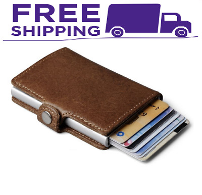 Men's Leather Wallet Credit Card Holder RFID Blocking Zip Thin Pocket Coin Purse
