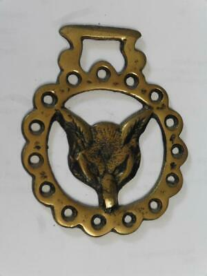 Vtg Horse Harness Brass WOLF HEAD Medallion Badge Equestrian Bridle Tack Saddle