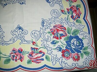 Vintage Tablecloth Assorted Flowers 55 X 84