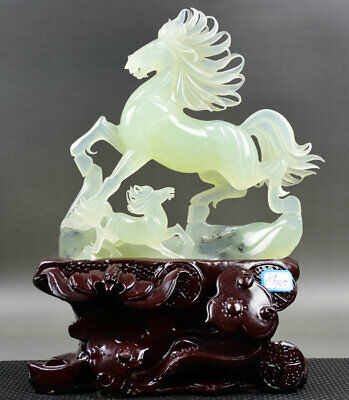 "14"" Chinese Natural Xiu Jade jadeite Carved Running Horse equine Son Sculpture"