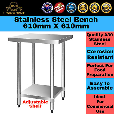 Stainless Steel Bench Table 430 Commercial Home Kitchen Work Food Grade Shelf