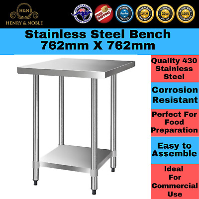 Stainless Steel Chefs Bench Table Commercial Home Kitchen Food 430 Grade Shelf