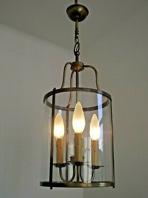 Grand Vintage French Round Glass & Aged Effect Metal 3 Candle Hall Lantern 1387