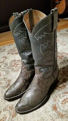 5b9523a0cae COWTOWN SNAKESKIN LEATHER Cowboy Boots Men's 9.5 D Made in USA ...