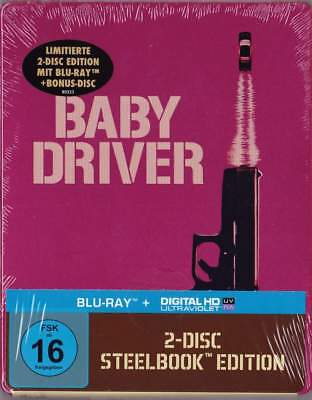 """BABY DRIVER"" - Ansel Elgort - Action Thriller - BLU RAY STEELBOOK - 2 Disc"