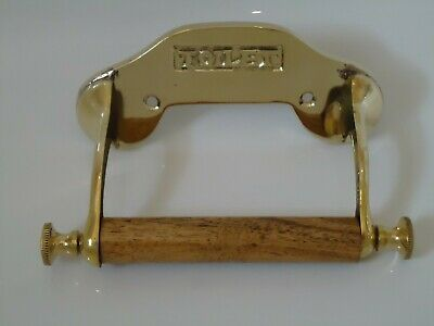 Vintage Style Brass Toilet Roll Holder Victorian Style Reproduction / Gold