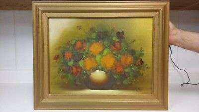 Nice mid century flowers oil painting