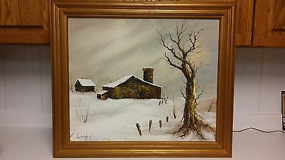 Vintage winter oil painting