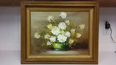 Listed artist Robert Cox flowers oil painting