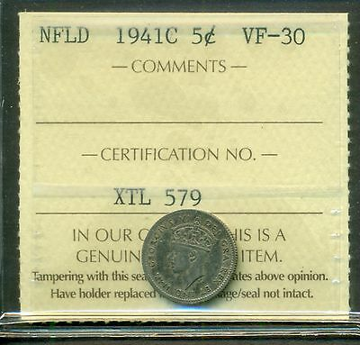 Canada Newfoundland NFLD 1941C 5 Cents Silver Graded ICCS VF-30