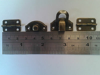 Antique Bronze, 1x Clasp/Latch _ 2 x Hinges_ For Jewellery Box -Woodwork Project