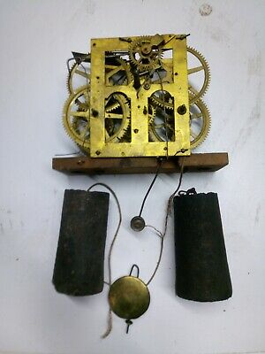 ANTIQUE CHAUNCEY JEROME or NEWHAVEN OGEE clock movement & weights & pendulum