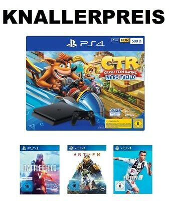 Playstation 4 Slim Konsole PS4 500 GB + CTR Crash Team Racing Nitro Fueled - NEU